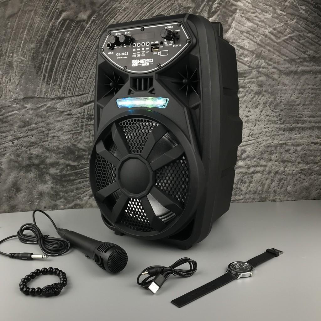 Bộ Loa Kéo Di Động Bluetooth Không Dây Kimiso Qs-2802 Kèm Micro Có Dây , Âm Thanh Chất Lương Cao, Âm Bass Hay