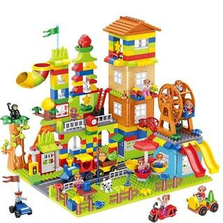 Xếp Hình Duplo (size lớn) đường đua uốn lượn, xe ô tô, xe công trình, nhà cửa phù hợp với trẻ em từ 1 tuổi