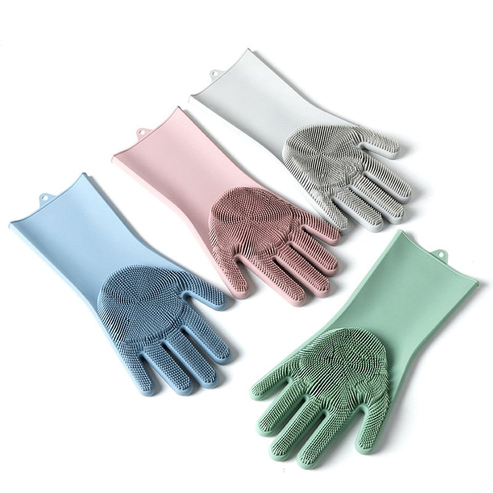 ●FY●Silicone Scrubber Dish Washing Cleaning Gloves Multipurpose Insulated Gloves