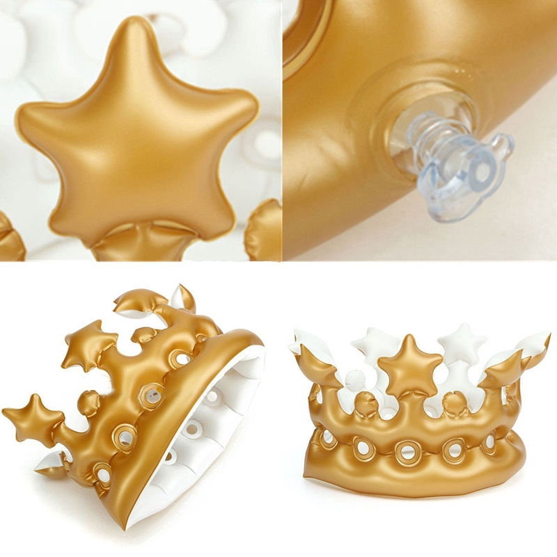 Inflatable Crown Queen For The Day Toy Novelty Party Favour Night Present Gift