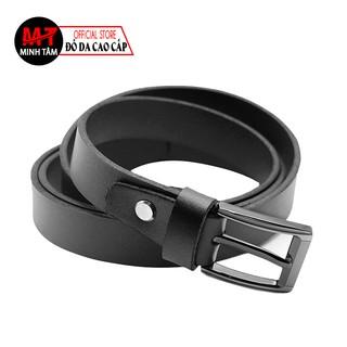 Thắt lưng nữ Minh Tâm da bò 100% , khóa kim lỗ , MT722 , đen