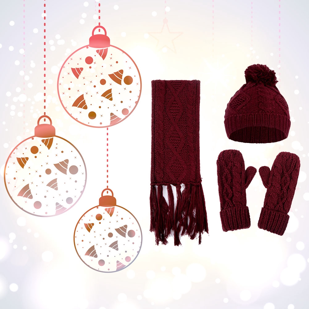 Winter Hat Set Windproof Casual Warm Knitted Artificial Woolen Scarf AND Gloves