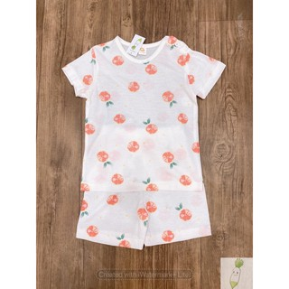Đồ bộ bé gái, bộ cộc tay cho bé gái, Bộ cotton giấy cho bé gái The minou dư xịn họa tiết chanh đào BOC02