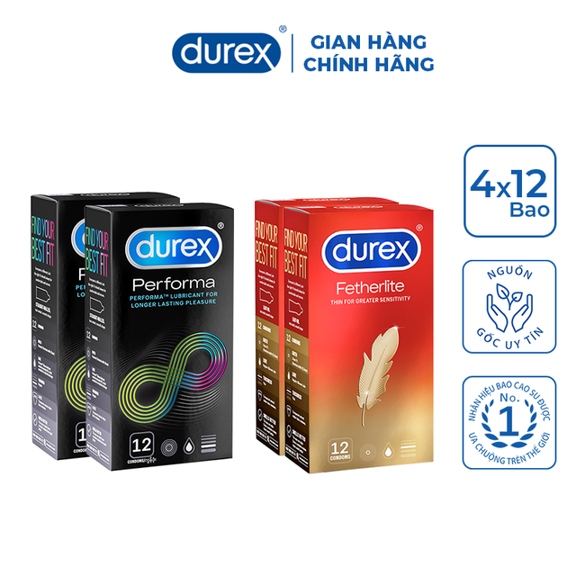 [Mã COSMALL25 -10% ĐH 250K]Bộ 4 hộp bao cao su Durex Performa và Durex Fetherlite (12 bao/hộp)