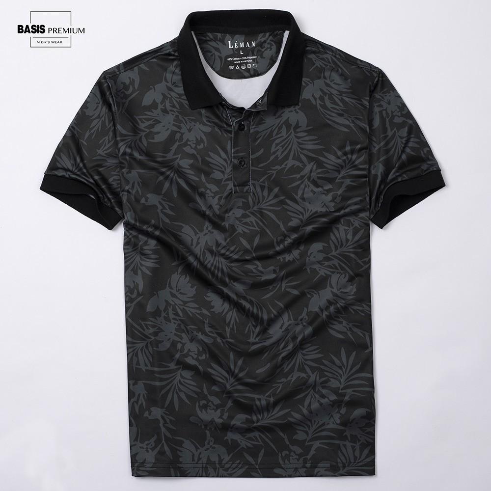 Áo thun nam họa tiết lá in chìm cao cấp, chất vải mềm, thoáng mát, thoải mái, Basis APL50