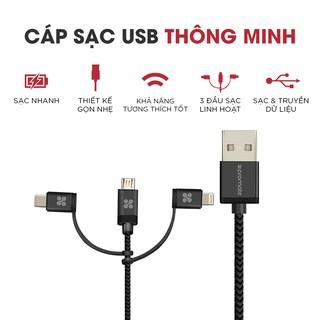 Cáp Sạc 3 Trong 1 Micro USB + Type C + Lightning Promate UNILINK-TRIO - Hàng Chính Hãng thumbnail