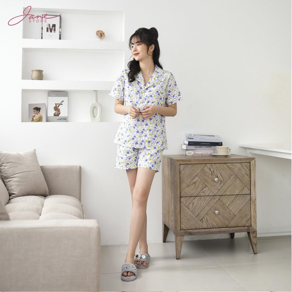 Mặc gì đẹp: Mát mẻ với Pijama họa tiết - Đồ ngủ pijama chất thô Hàn áo cộc quần cộc trẻ trung Jane mã P4