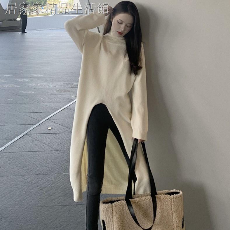 Đầm Len Tay Dài Cổ Lọ Phong Cách Hàn Quốc
