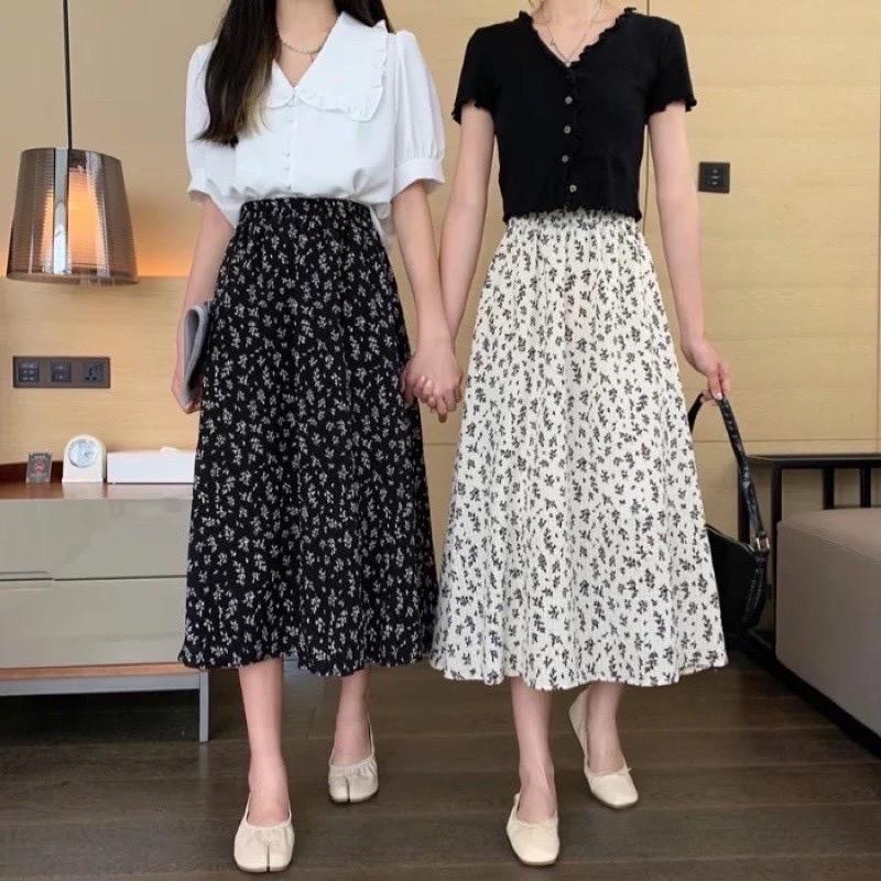 [Mã BIGBI07 giảm 8% tối đa 50K đơn 250K] Chân váy dài hoa nhí vintage, dáng xoè 2 màu đen trắng CV220