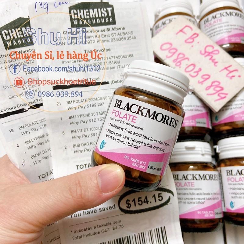 (Mẫu mới) Viên Uống Blackmores Folate 500mcg 90 Viên (acid folic Úc đủ bill Chemist)