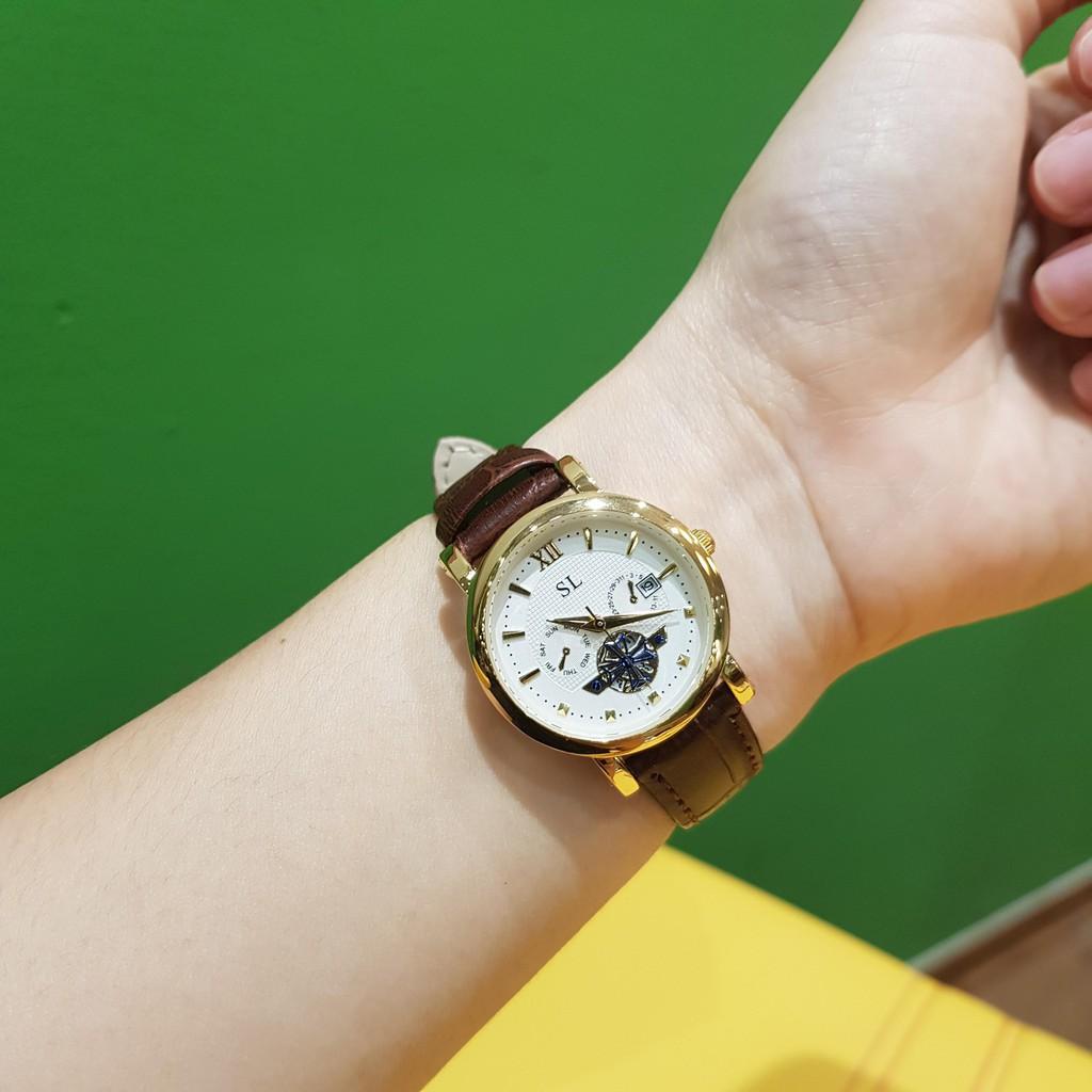 Đồng hồ cặp đôi nam nữ SL dây da viền vàng lộ máy chống nước chính hãng giá rẻ