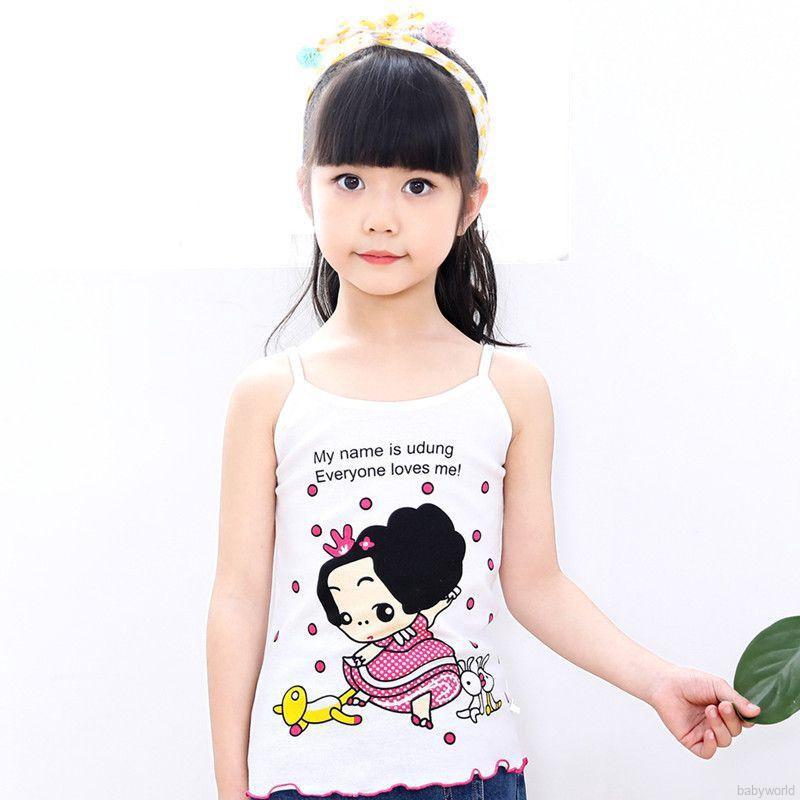 Áo thun 2 dây in hoạt hình cho bé gái từ 1-6 tuổi