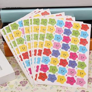 ☼WT 10 Sheets Smile Stars Decal School Children Kids Teacher Label Reward Cute Sticker