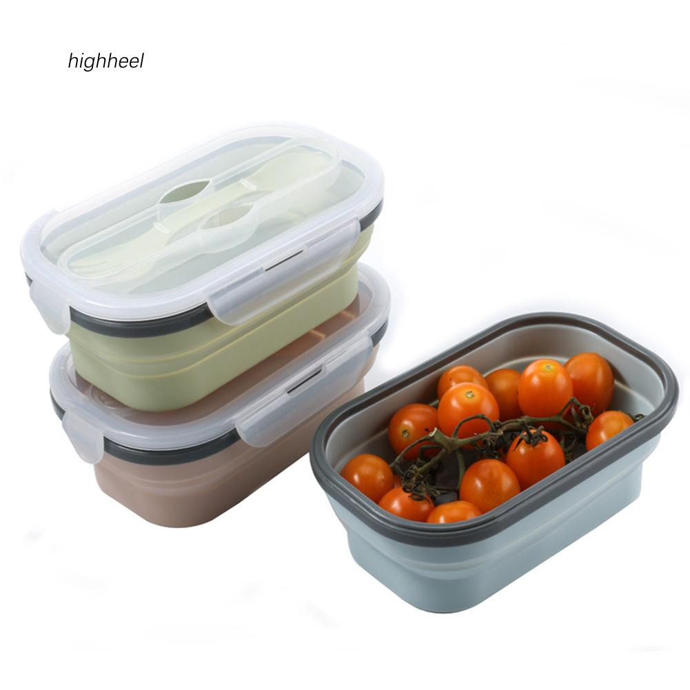 【HHEL】Portable Silicone Food Container Collapsible Bowl Lunch Bento Storage Box Holder