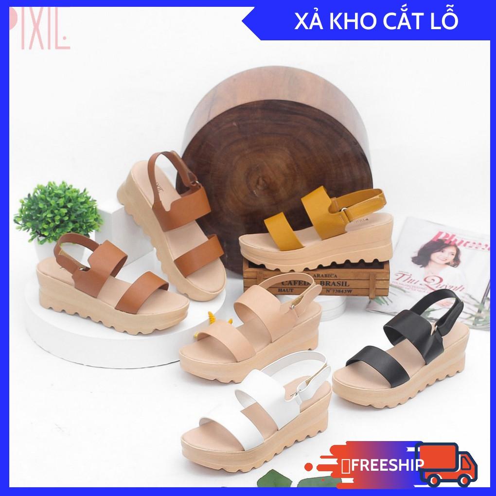 [THANH LÝ] Giày Sandal Đế Xuồng 5cm Siêu Nhẹ Quai Ngang Màu Đen Pixie X425 Xả Lỗ Vốn