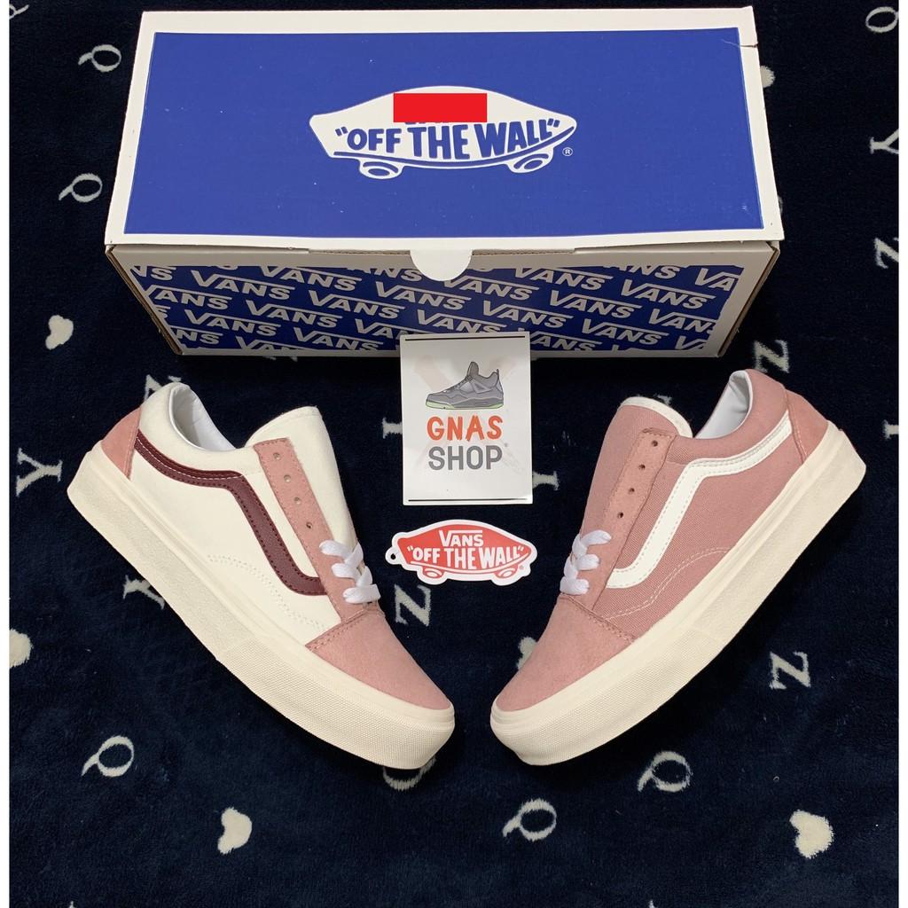 Giày thể thao nữ trắng hồng sọc đỏ