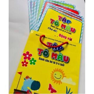 Túi tập tô màu cho bé 3-4 tuổi ( bộ gồm 8 quyển) có 8 chủ đề khác nhau