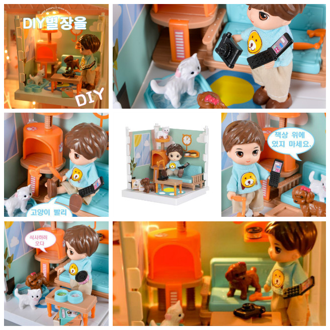 Kids Diy Pretend Playset House Simulation Boys with Pet House Play for Boys and Girls Birthdays Gifts