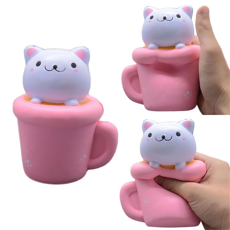 1Pcs PU Slow Rebound Toys Creative Cat In The Cup Vent Toy New Hot