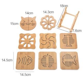 Bộ miếng lót nồi chống trượt, chống nóng bằng gỗ