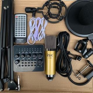 Chọn Bộ Hát Thu Âm Livestream Míc ISK AT350-Sound card V10 chân kẹp+màng lọc bh 6 tháng