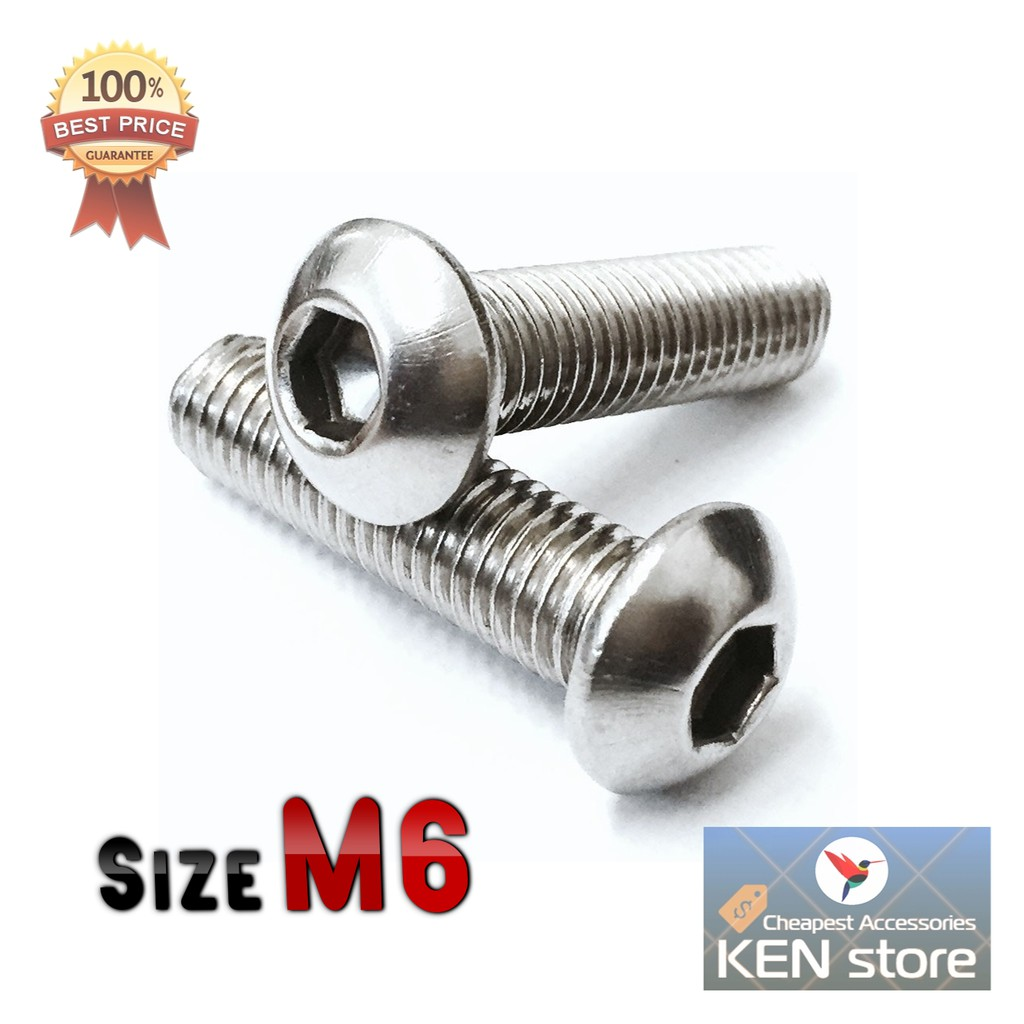 Bộ 5 ốc lục giác INOX size M6 6 ly nhiều kích thước
