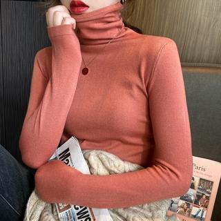 Áo Sweater Dáng Ôm Cổ Cao Màu Trắng Đen Thời Trang 2020 Trẻ Trung