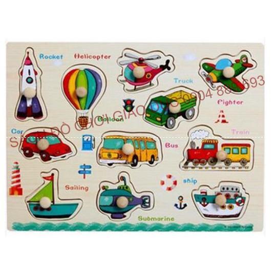 Bảng ghép hình có núm chủ đề các phương tiện giao thông 2 - Loại bảng dày đẹp