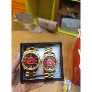 Đồng hồ cặp nam nữ Rolex viền đá có lịch thumbnail