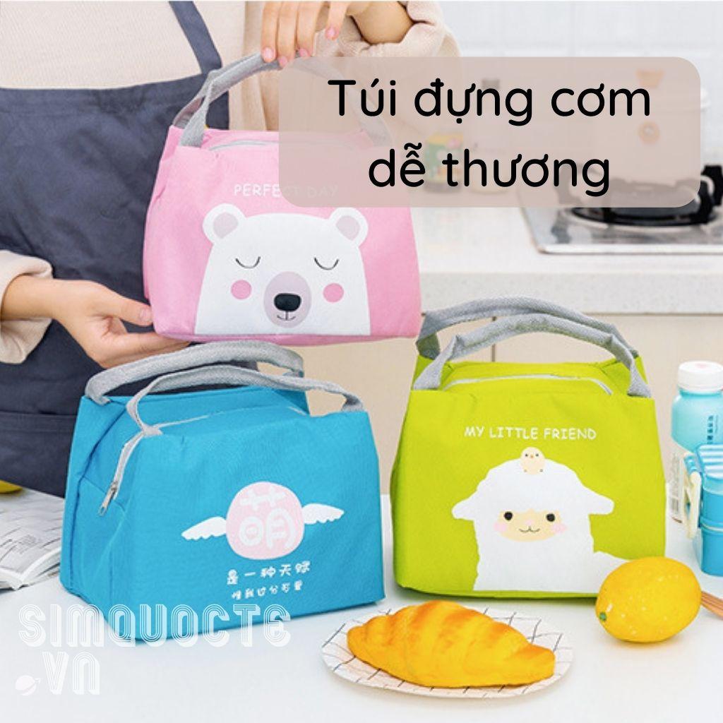 Túi đựng cơm giữ nhiệt có khoá kéo màu sắc dễ thương