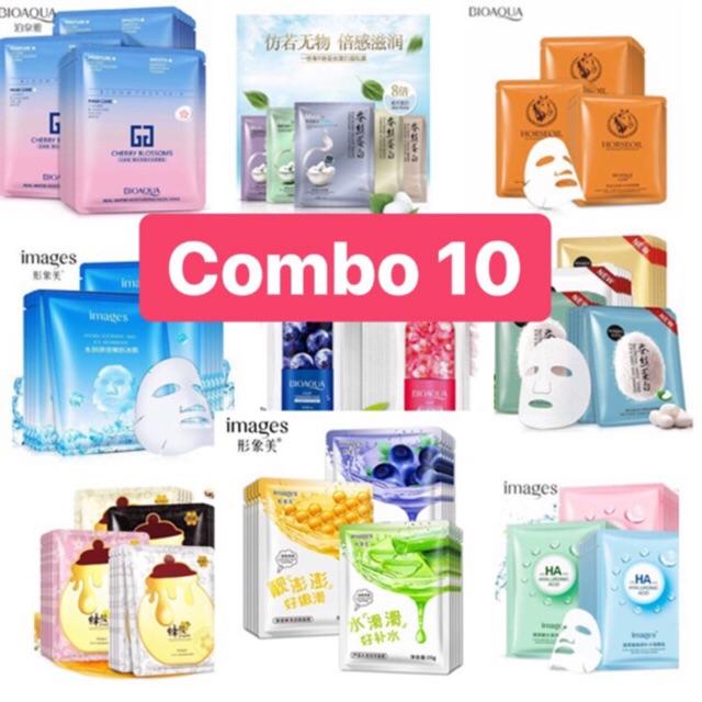 [RẺ VÔ ĐỊCH] Combo gồm 10 mặt nạ giấy dưỡng da mụn cấp ẩm thải độc Bioqua, Images
