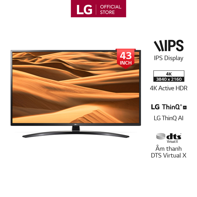 Smart Tivi LG 43 Inch UHD 4K 43UM7400PTA Model 2019 - Có Magic Remote (Chính H