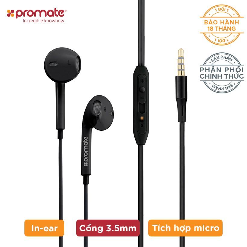 Tai nghe In-Ear Promate gearPod-iS2 nhỏ gọn kèm Mic (Đen)
