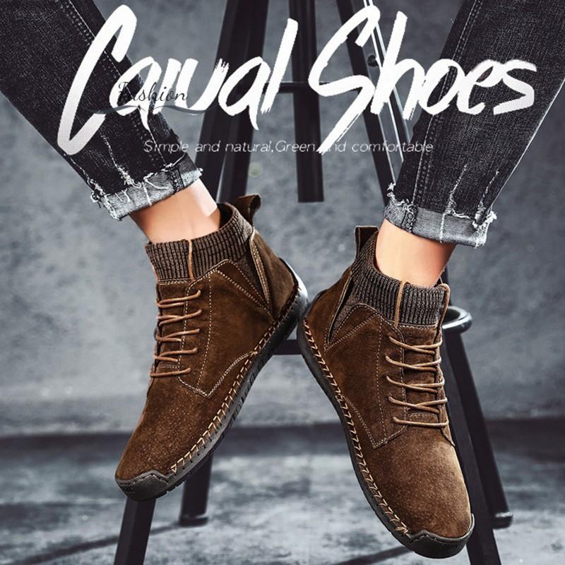Giày bốt da cổ cao thời trang dành cho nam