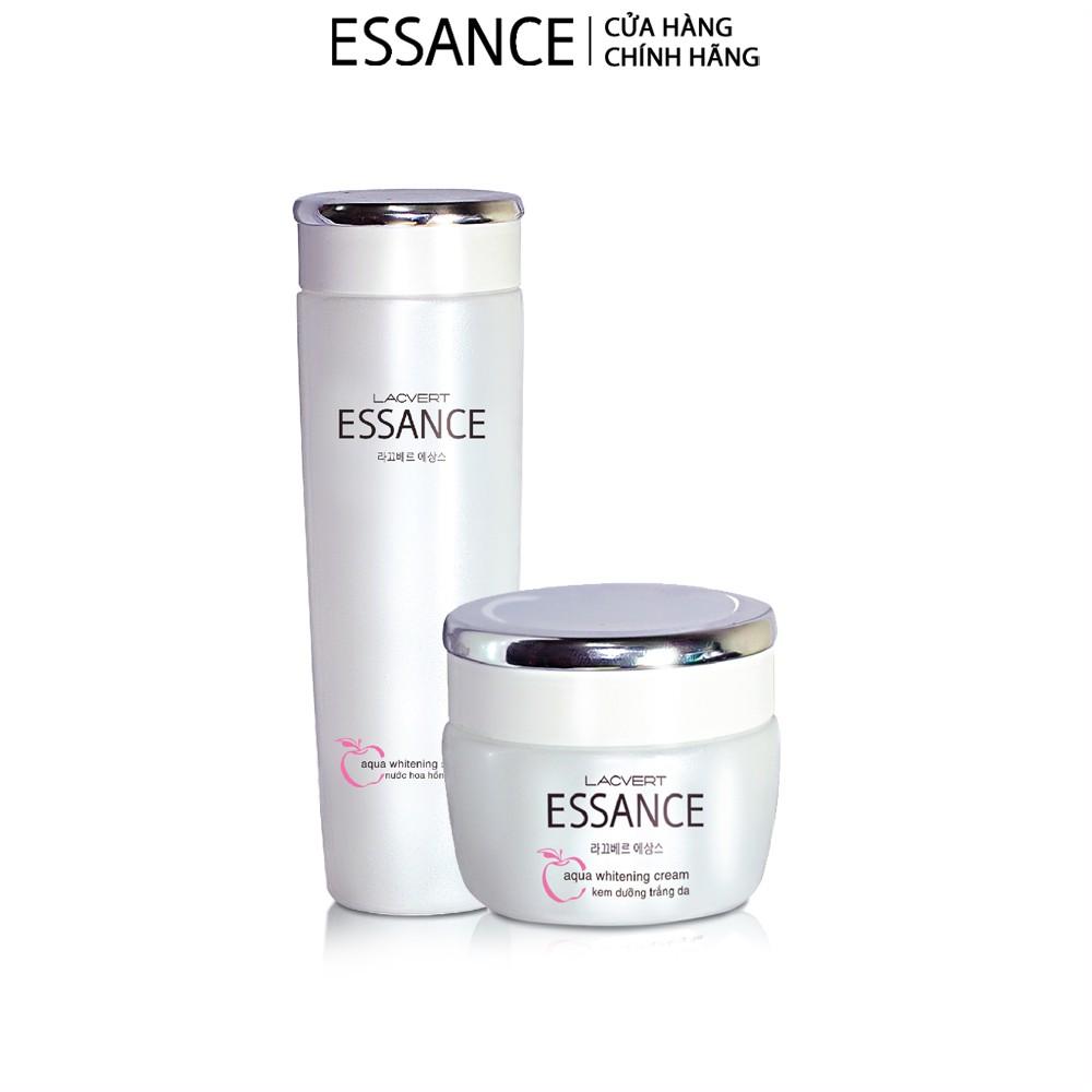 Combo dưỡng trắng nước hoa hồng và kem Essance Whitening Aqua Toner And Cream