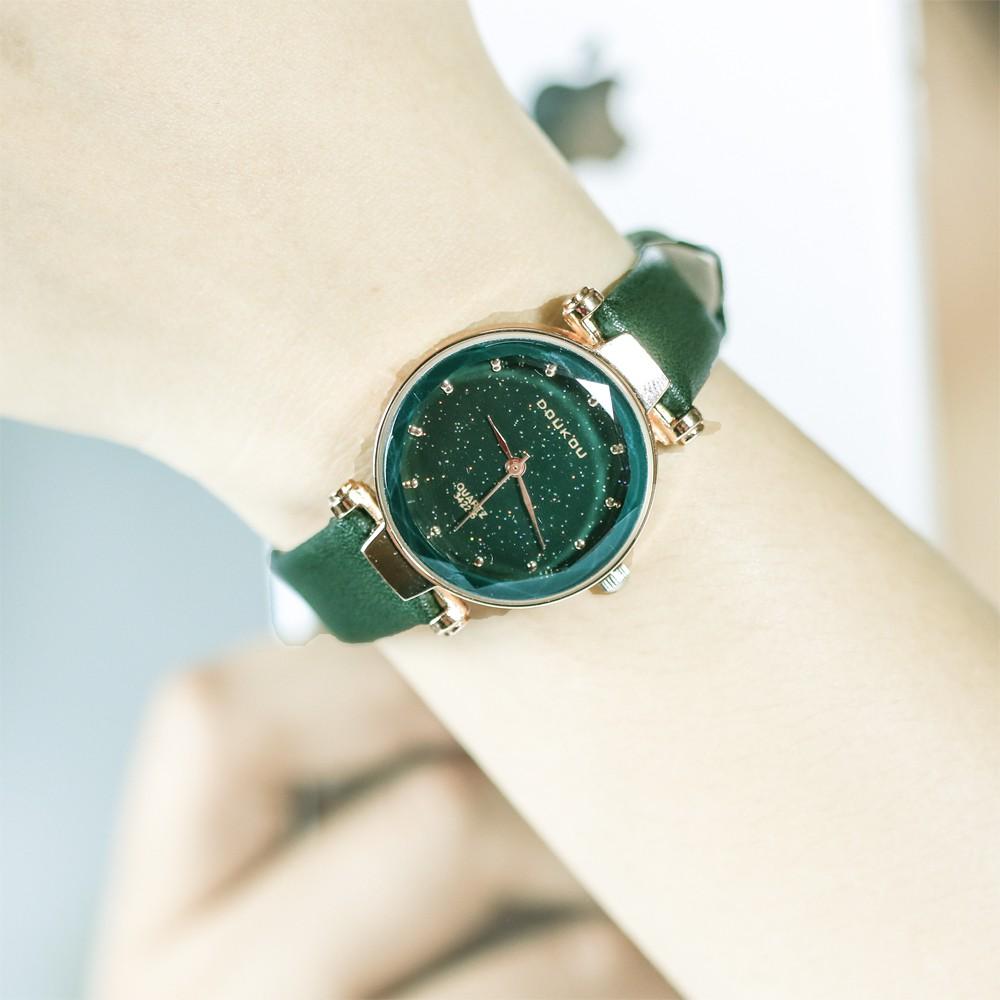 """Đồng hồ nữ DOUKOU """" ánh sao đêm"""" mặt vát 3D lấp lánh trẻ trung  - Đồng hồ thời trang"""