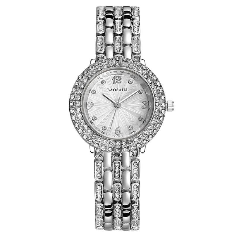 Đồng hồ nữ Baosaili BA2542 dây thép không gỉ đính đá cao cấp - 2 màu sang trọng