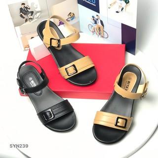 Sandal nữ BITAS ❤️FREESHIP❤️ Dép quai hậu học sinh đế bằng siêu nhẹ khuy vuông SYN239