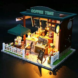 Kèm mica – Mô hình nhà gỗ búp bê dollhouse DIY – C006 Coffee Time