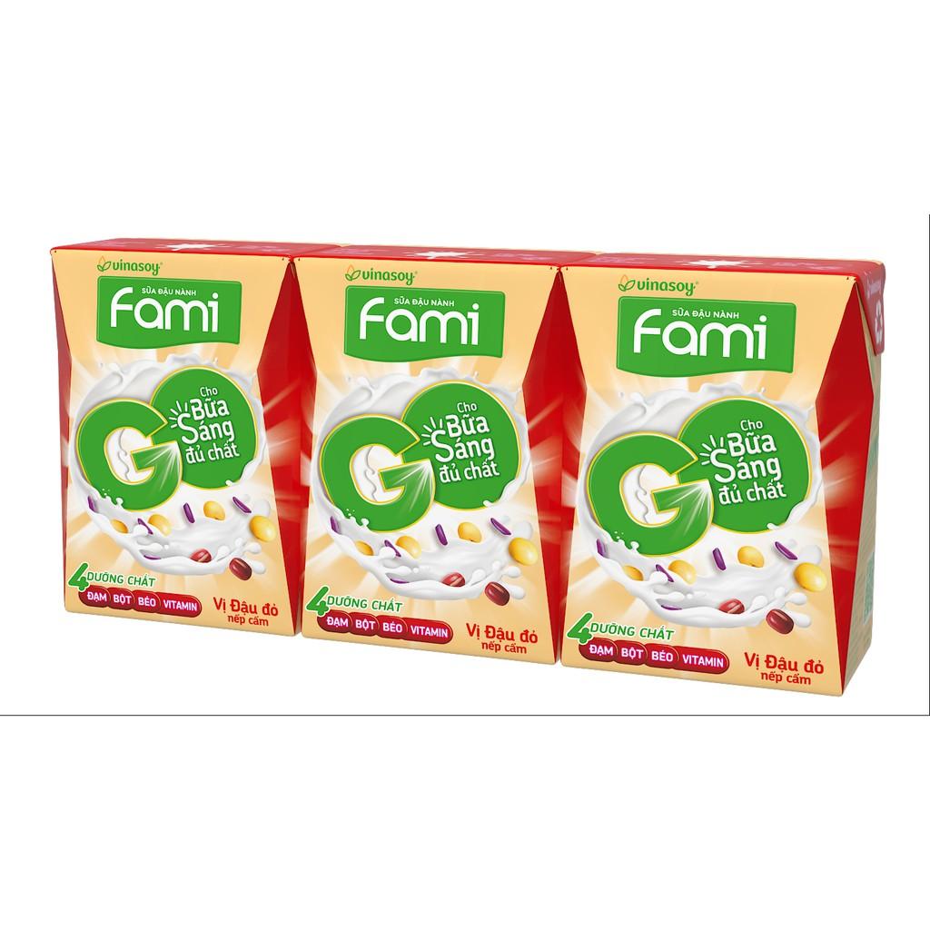 Lốc 3 hộp sữa đậu nành Fami Go vị đậu đỏ nếp cẩm 200ml/hộp