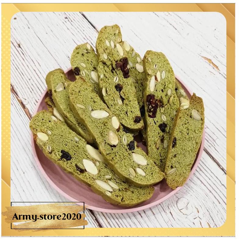 Bánh ăn kiêng Biscotti vị matcha, bánh ăn kiêng nguyên cám - B01