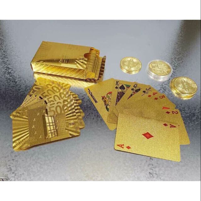 Bộ Bài Tây Bằng Nhựa Mạ Vàng