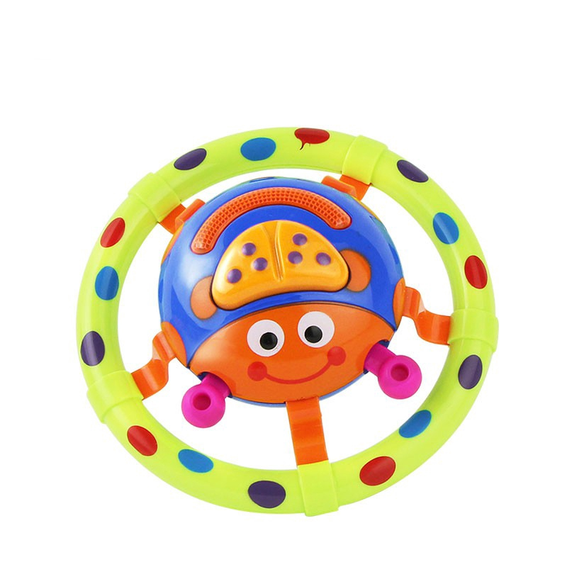 Cartoon Baby Musical Rattle Rotating Ladybug with Shining Light Early Educational Toy for Kids