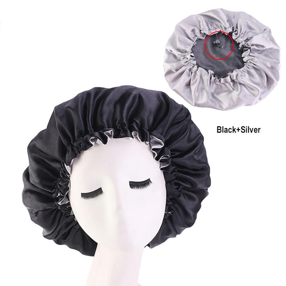 Chemotherapy Sleep Double Layer Solid Elastic Adults Adjustable Satin Women Hat