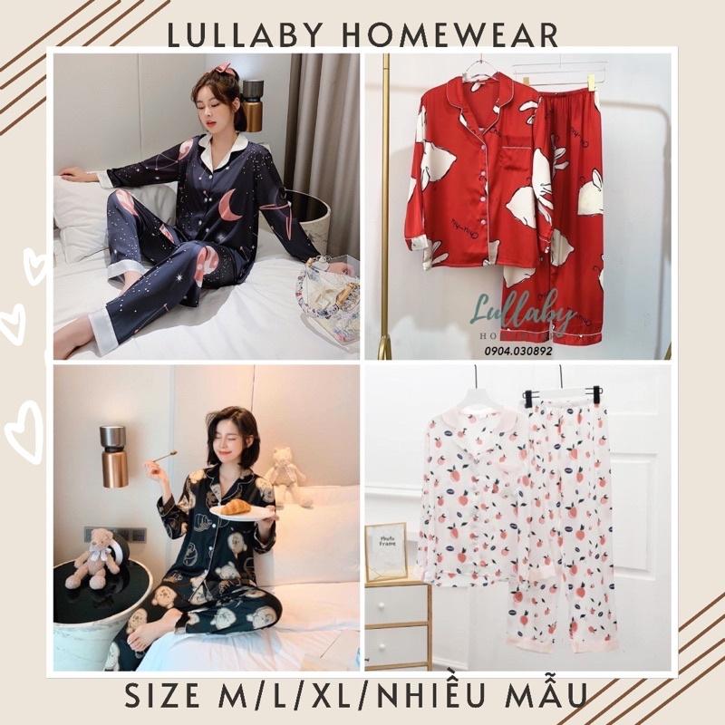 Mặc gì đẹp: Mát mẻ với [Hàng có size] Pijama lụa tay dài cao cấp nhiều mẫu size M/L/XL - đồ ngủ lụa cao cấp- Lullaby Homewear
