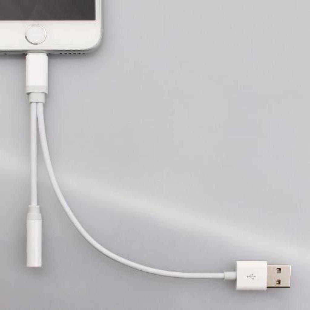 เคสนุ่ม สายแปลง 2 in 1 Lightning และ USB ไปยังปลั๊กเสียงขนาด 3.5 มม. สำหรับ iPhone 7 (สีขาว)คสนุ่ม สายแปลง 2 in 1 Lightn