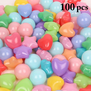 100PCS Play Ball Star Heart Colorful Ocean Ball Pit Ball for Kids Boys Girls