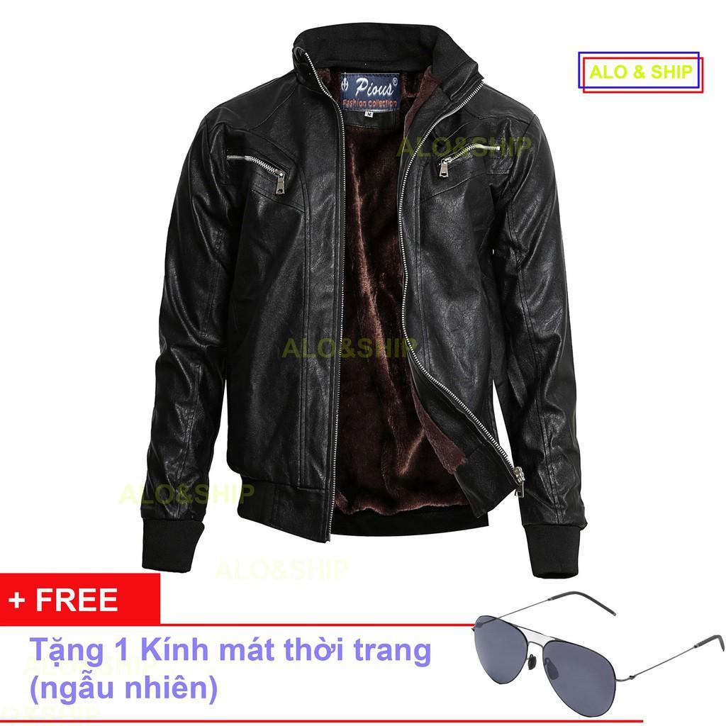 Hot Áo Khoác Da Lót Lông Nam Thời Trang Cao Cấp Pious AD023K + Tặng Kèm Kính đẹp chất - Áo khoác dạ