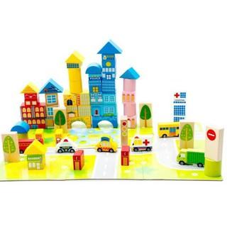Bộ xếp hình xây dựng thành phố bằng gỗ