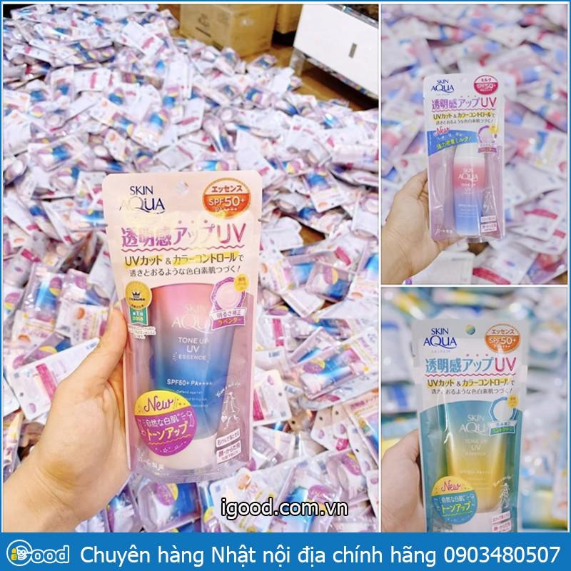 (bill) Kem chống nắng Skin Aqua Tone up UV Essence SPF 50+ PA++++ 80gr nội địa Nhật